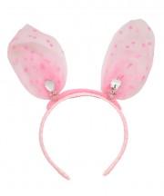 Baby Mini Bunny Ears Polka - Light Pink