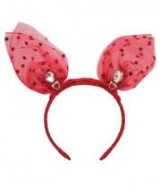 Baby Mini Bunny Ears Polka - Red