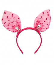 Baby Mini Bunny Ears Polka - Shocking Pink