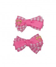 Tickled Pink Gingham Bow Clips