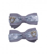Bow Clips (m) - Silver Sparkle