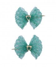 Baby Birdcage Hair Grip - Emerald