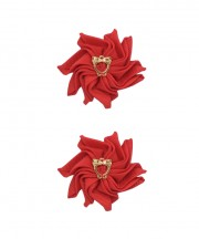 Baby Floral Clips - Red
