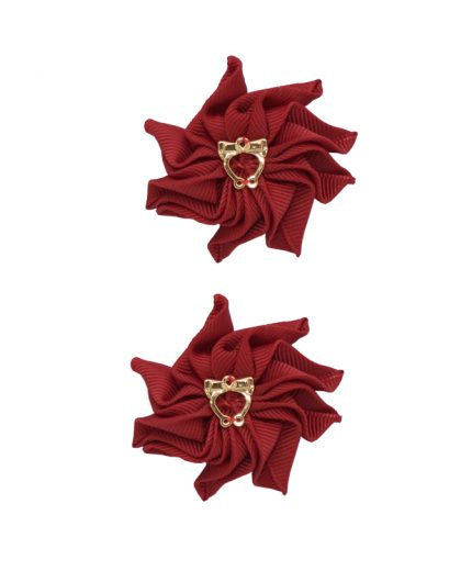 Baby Floral Clips - Scarlet