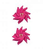 Baby Floral Clips - Shocking Pink
