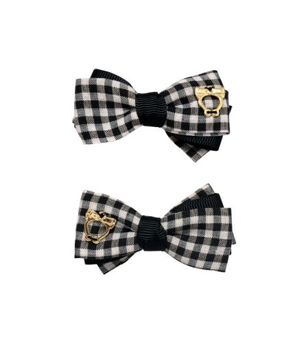 Baby Gingham Bow Clips - Black