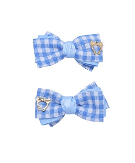 Baby Gingham Bow Clips - Bluebird