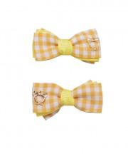 Baby Gingham Bow Clips - Lemon