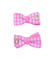 Baby Gingham Bow Clips - Light Pink