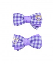 Baby Gingham Bow Clips - Light Purple