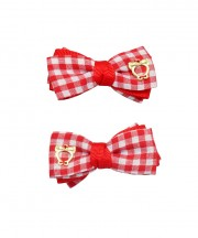 Baby Gingham Bow Clips - Red