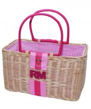 Monogram Basket - Geranium Pink & Camelia Rose