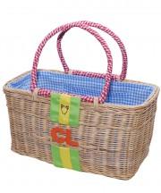 Monogram Basket - Green & Yellow