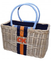 Monogram Basket - Navy & Orange
