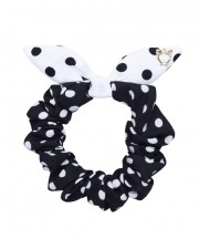 SS SCRUNCHIE Polka Dot Black & White Ears