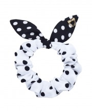 SS SCRUNCHIE Polka Dot White & Black Ears