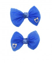 bow clip tulle electric blue