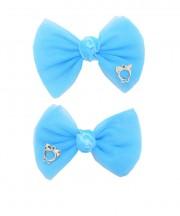 bow clip tulle methyl blue