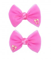bow clip tulle shocking pink