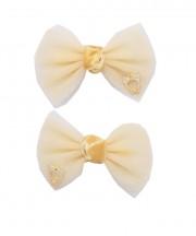 bow clip tulle tan