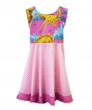 Kids Dinosaur Gingham Dress