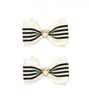 School Stripes Bow Clips - Black & Cream