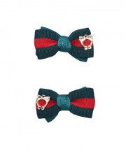School Stripes Bow Clips - Green & Red