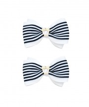 School Stripes Bow Clips - Navy & White